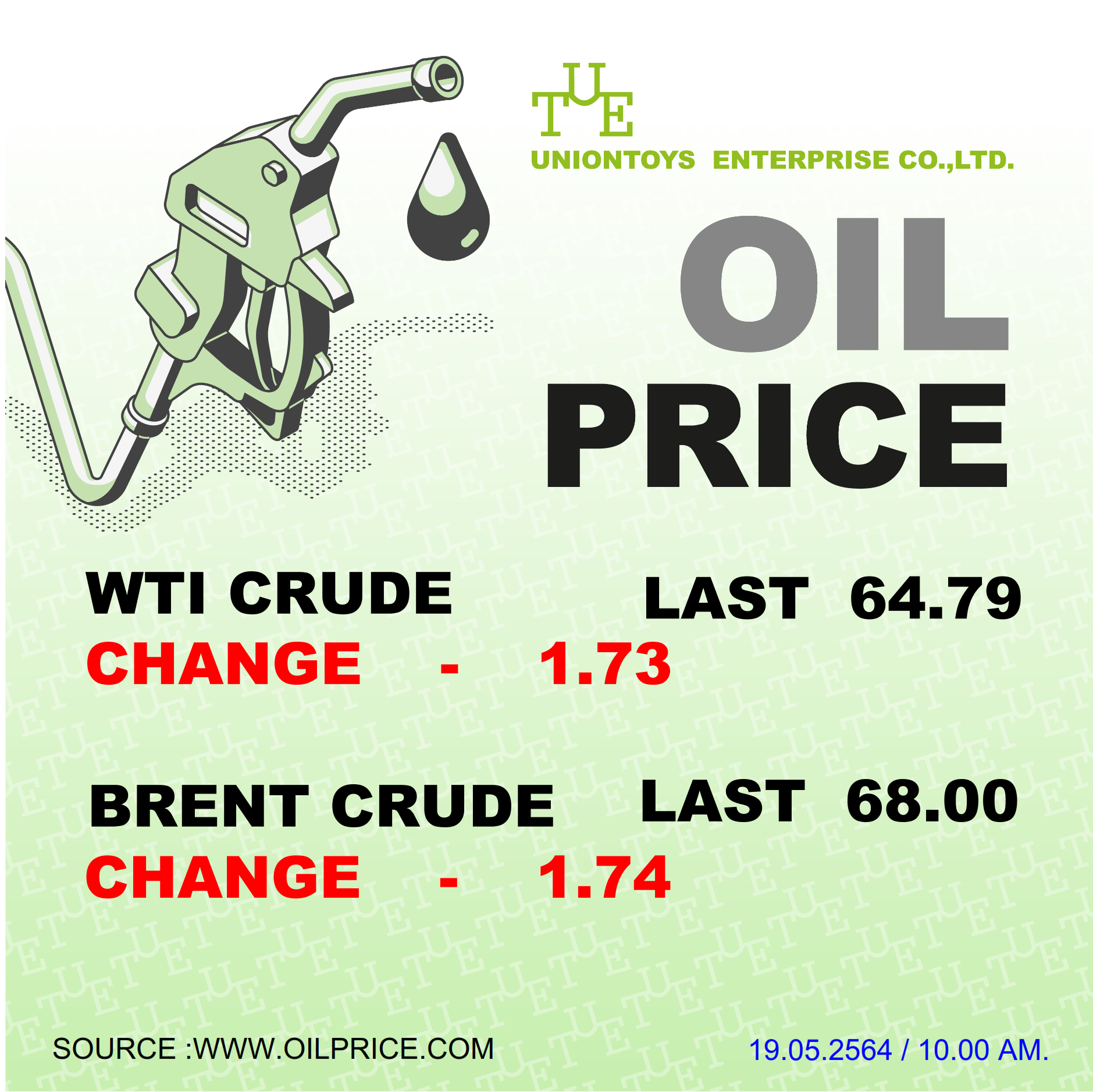Uniontoys Oil Price Update - 19-05-2021